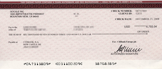 Google Kit scam cheque
